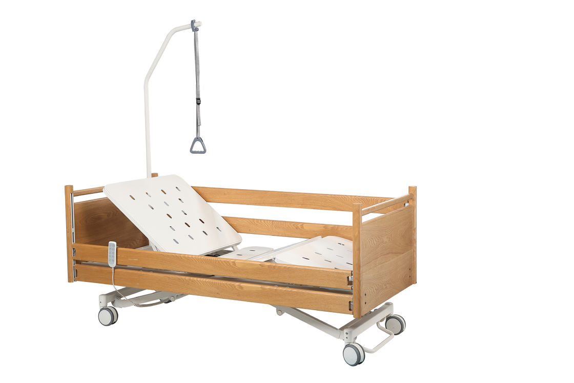 Motorized Hill Rom Hospital Bed , Wood Base Height Adjustable Bed For Elderly